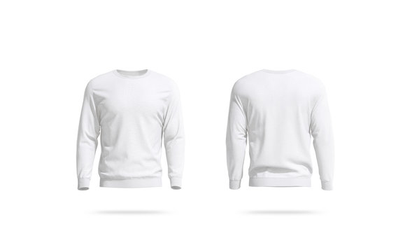 Blank white unisex sweatshirt mockup, front and back view