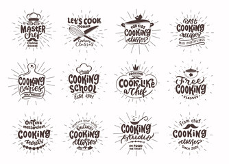 Custom blinds for kitchen with your photo Let's cook. Set of vintage retro handmade badges, labels and logo elements, symbols, phrases, slogans for cooking school, cooking studio