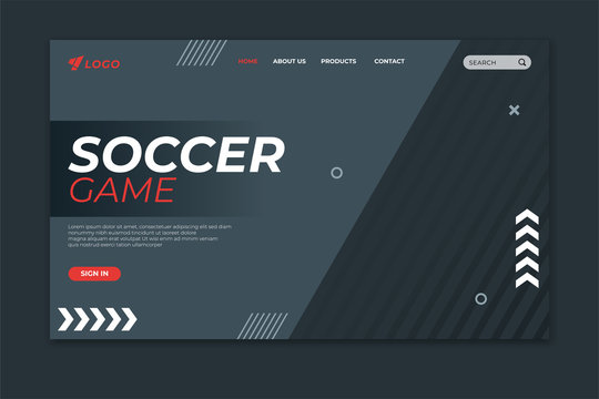 Sport landing page template. Soccer game