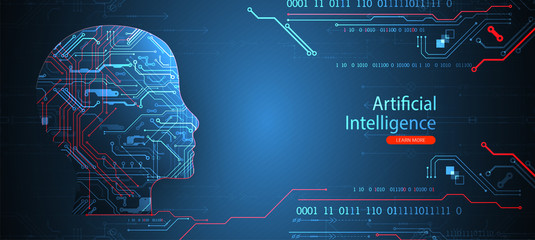 Artificial intelligence concept. Technology background. Vector science illustration Wall mural