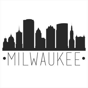 Milwaukee Wisconsin. City Skyline. Silhouette City. Design Vector. Famous Monuments.