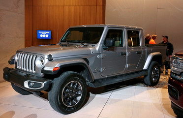 The 2020 North American Truck of the Year, 2020 FCA Jeep Gladiator, is displayed during the award ceremony in Detroit
