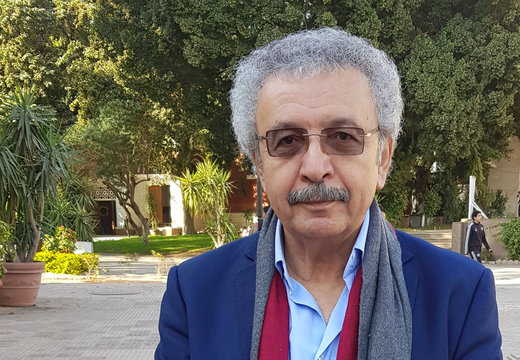 Ibrahim Nasrallah, a Jordanian-Palestinian poet and writer, poses for a portrait during Cairo International Forum for Arabic poetry in Egypt
