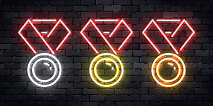 Vector set of realistic isolated neon sign of Golden, Silver and  Copper Medal logo for template decoration and layout covering on the wall background. Concept of winner.