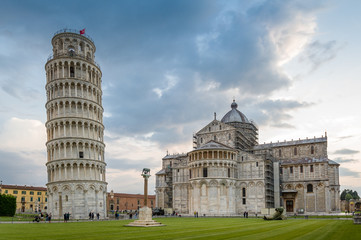 Piazza del Duomo and Pisa tower at susnet. Toscano, Italy.