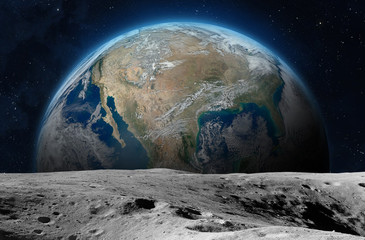 Moon surface and planet Earth. Fotomurales