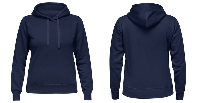 Blue female hoodie sweatshirt with long sleeve, women hoody with hood for your design mockup for print, isolated on white background. Template sport pullover front and back view