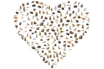 Australian animals in heart shape. Wildlife animals: Emu, Echidna, Tasmanian Devil, Wombat,...