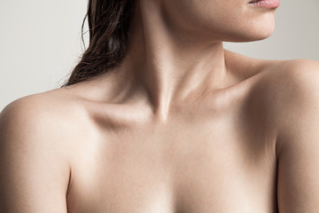 close up of woman neck and shoulders natural beauty skin