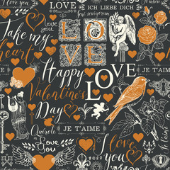 Vector seamless pattern with hearts, angels, flowers, birds and inscriptions on the theme of Valentines day. Abstract background in retro style with the words I love you in different languages.