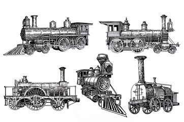 Graphical set of locomotives isolated on white background,jpg illustration,transport for printing