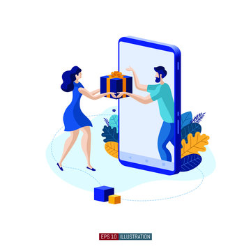 Trendy flat illustration. Girl receives a gift from a smartphone. Online marketing concept. Customer feedback. Online shopping. Template for your design works. Vector graphics.