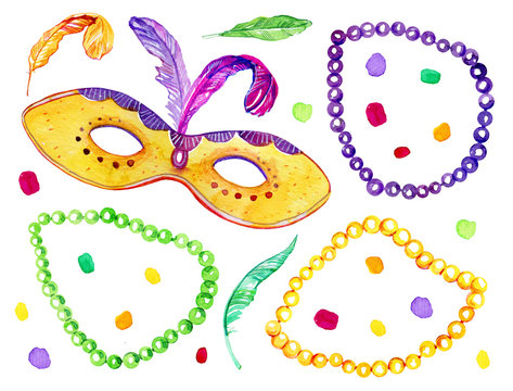 Set with beads, mask and feathers. Mardi Gras traditional objects. Hand drawn watercolor illustration