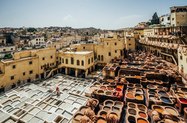 Scenic view of leather tannery dye pits, Fes, Morocco Wall mural