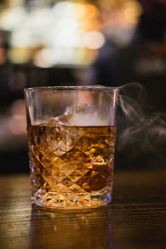 Smoked whiskey cocktail