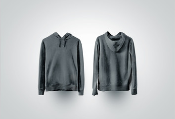 Blank black sweatshirt mockup, front and back view