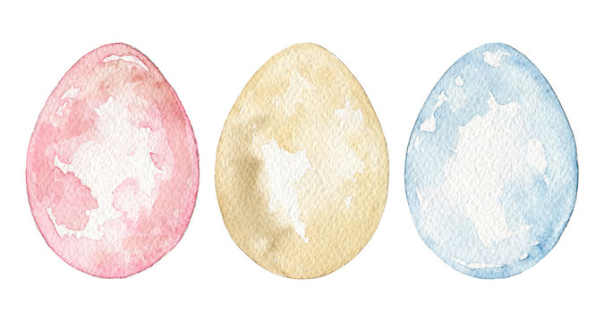 Set with three vintage easter eggs in blue, yellow and pink colors. Watercolor hand drawn illustration