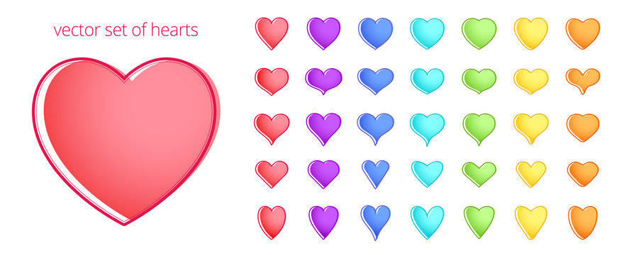 Colorful set of hearts. Abstract symbols of love, passion and health. Vector icons of a   different shapes. Rainbow palette. Red, purple, blue and other spectrum tints. Elements   for Valentine's Day