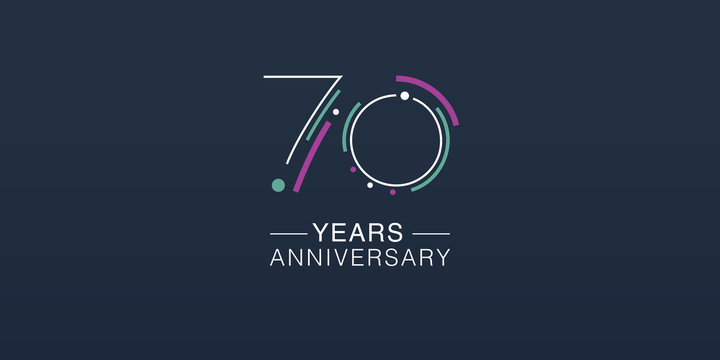 70 years anniversary vector icon, logo. Neon graphic number