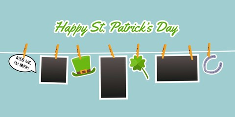 Photo hanging on the rope pinned with clothespins. Stickers for St. Patrick Day. Cute symbols: clover leaf, green hat, horseshoe, speech bubble with quote Kiss me, I am Irish. Vector cartoon