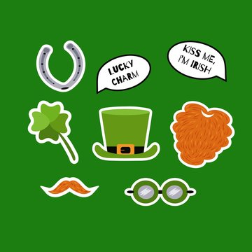 St. Patricks Day sticker set. Red beard, whiskers, shamrock, leprechaun hat, horseshoe, speech bubbles with quotes. Lucky charm. Kiss me, I'm Irish. Vector