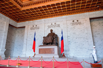 The scene inside with statue in National Chiang Kai-shek Memorial Hall, Taipei, Taiwan.