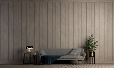 Minimal interior design of living room and wood wall pattern background