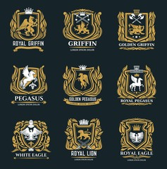 Heraldic royal vector icons of golden griffin, eagle, pegasus and lion symbols. Medieval gold heraldry signs and coat of arms with imperial castle, swords and crown in ornate wreath
