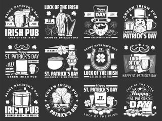 Happy Saint Patricks day icons. Vector Ireland flag, Irish green beer sign and Saint Patrick with shamrock three leaf clover, harp, drum, horseshoe and ale beer pint, leprechaun and money pot