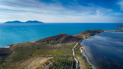 Drone aerial view on  isolated Monastery of Saint Mary on Zvernec island (Narta Lagoon, Vlore, Albania)