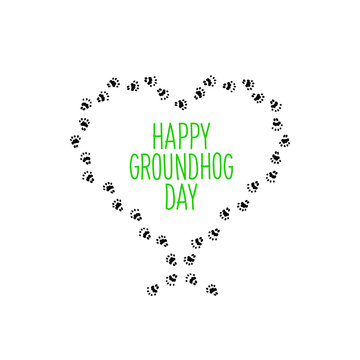 Holiday image with animal's footprint. Black imprint of groundhog foot on white background. Vector illustration.