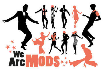 Fototapete - Pop and soul dance clipart collection. Set of mods and northern soul dancers isolated on white background..