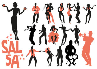 Salsa dance clipart collection. Set of latin music dancers and musician isolated on white background..