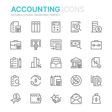 Collection of accounting related line icons. 48x48 Pixel Perfect. Editable stroke