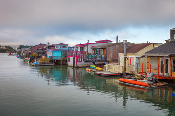 The beautiful town of Sausalito with its houseboats on the water, San Francisco, California