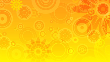 abstract summer background with yellow and orange circles and flowers - fototapety na wymiar