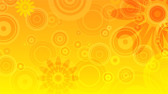 abstract summer background with yellow and orange circles and flowers