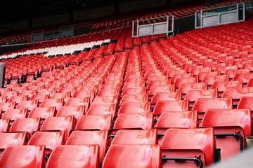 Bright red stadium seat in Liverpool. Fotoväggar
