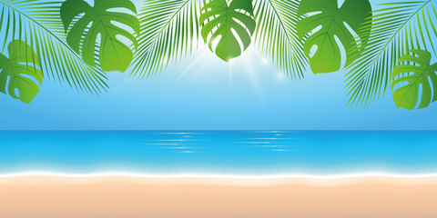 In de dag Blauw sunny summer day on the beach background with palm leaf vector illustration EPS10