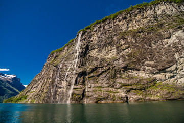 The bride waterfall over Geirangerfjord, located near the Geiranger village, Norway