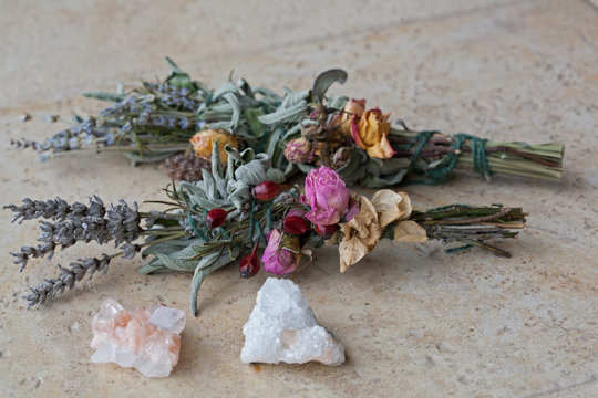 Sage & Lavender Smudge Stick with Dried Flowers, Pink and White Crystals