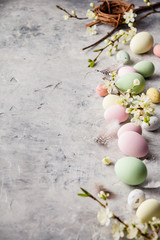 Easter composition on grey concrete backgrount