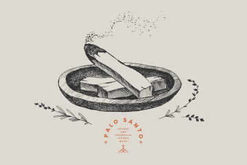 Hand-drawn sticks of the sacred wood of Palo Santo, steaming with aroma. Latin American incense for meditation. Vintage vector illustration.