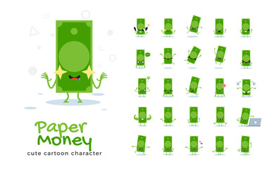Vector set of cartoon images of golden coin. Vector Illustration.