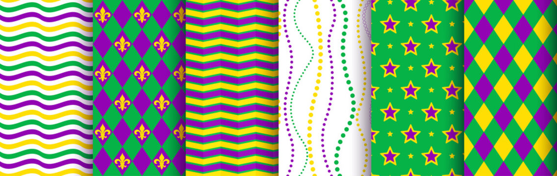 Mardi gras background, seamless pattern set. Pattern swatches included in the Swatches panel