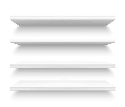 Realistic plastic shelves, 3d metallic white shelf