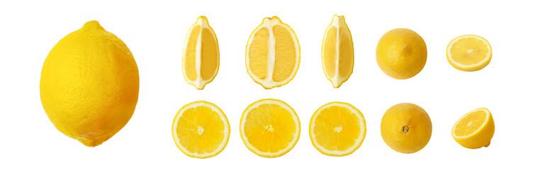 ripe lemon set isolated on white background