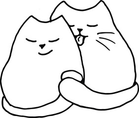 day of love, saint valentine day, 14 february, a couple of sweet kissing handdrawn pink cats homosexual gay couple boy and boy in love