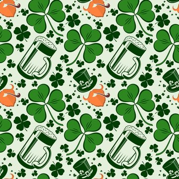 Saint Patrick's day seamless pattern with Beer mugs and Shamrock leafs.