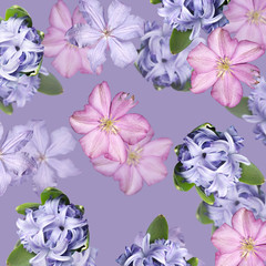 Fototapete - Beautiful floral background of clematis and hyacinth. Isolated